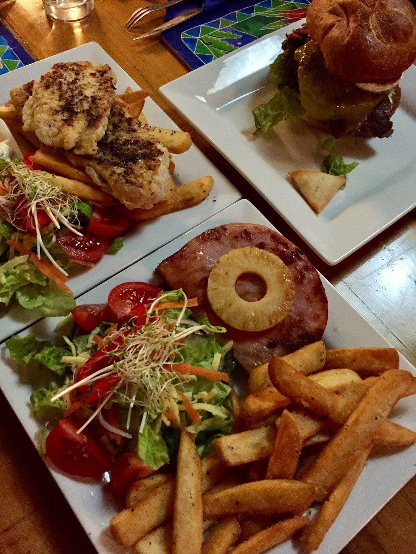 Three plates of food