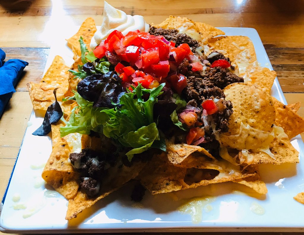 Colorful plate of nachos